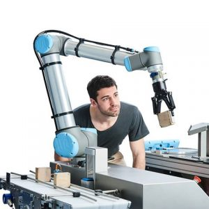 Double exposure of automate wireless Collaborative robot arm usage in smart factory.