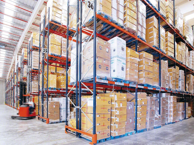 Static Shelving System with Goods in Modern Warehouse Storage System.