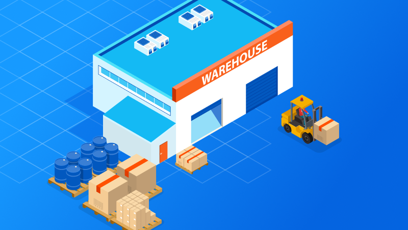 An Illustrated Image of a warehouse in and out